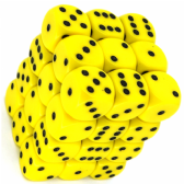 Yellow & Black Opaque 12mm D6 Dice Block